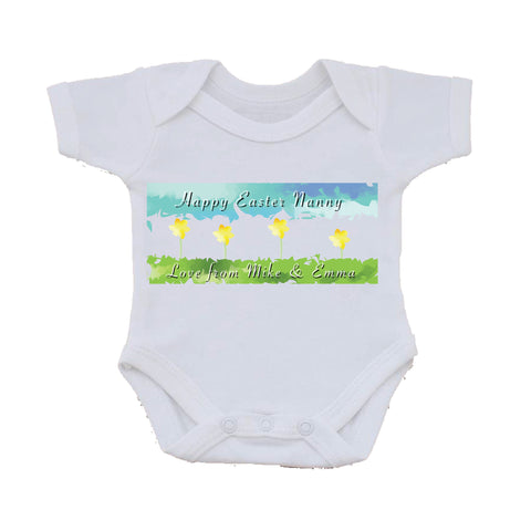 EA10 - Personalised Aztec Easter Daffodil Baby Vest
