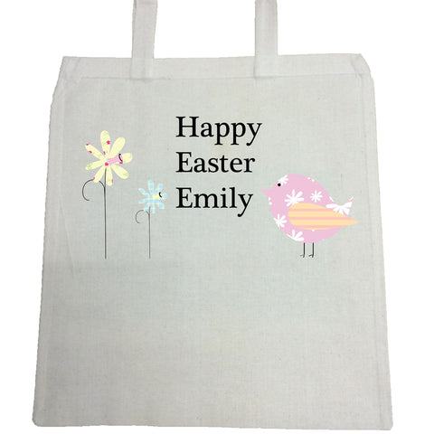EA11 - Personalised Easter Flower & Chick Canvas Bag