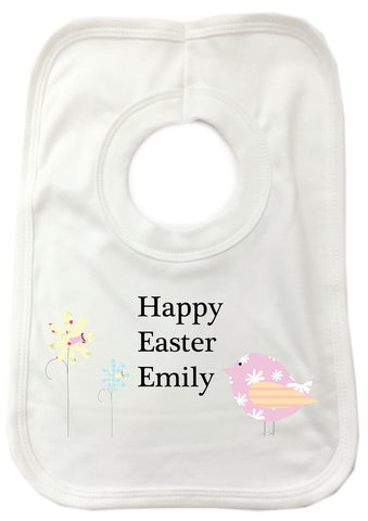 EA11 - Personalised Easter Flowers & Chick Baby Bib