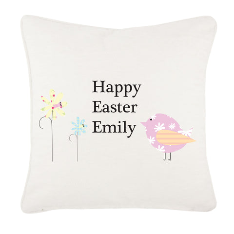 Personalised Easter Flower & Chick Cushion