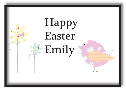 EA11 - Personalised Easter Flowers & Chick Print
