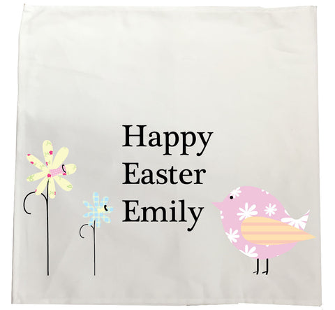 EA11 - Flowers & Chick Easter Canvas Tea Towel