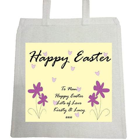 EA12 - Purple Flowers Easter Canvas Bag