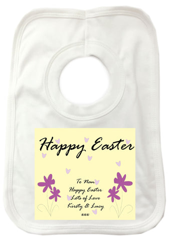 EA12 - Personalised Easter Purple Flowers Baby Bib