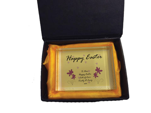 EA12 - Personalised Easter Purple Flowers Crystal Block with Presentation Gift Box