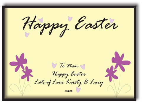 EA12 - Personalised Easter Purple Flowers Print
