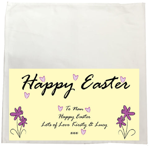 EA12 - Personalised Easter Purple Flowers Canvas Tea Towel