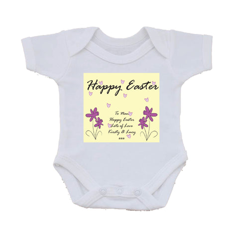EA12 - Personalised Easter Purple Flowers Baby Vest