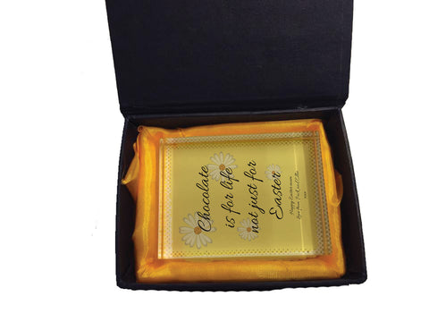 EA14 - Personalised Chocolate is for Life not just for Easter Crystal Block with Presentation Gift Box