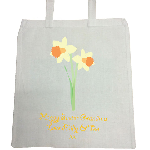 EA16 - Personalised Easter Daffodils Canvas Bag