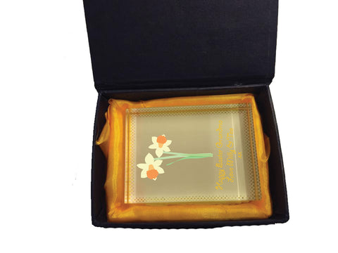 EA16 - Personalised Easter Daffodil Crystal Block with Presentation Gift Box