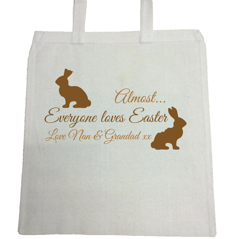 EA01 -  Personalised Almost Everyone Loves Easter Bunny Canvas Bag