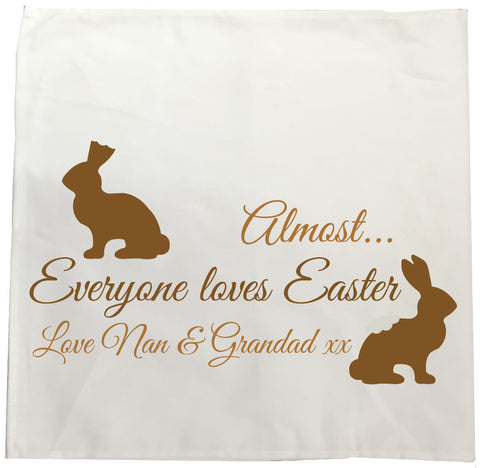 EA01 - Personalised Almost Everyone Loves Easter Canvas Tea Towel