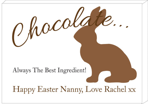 EA02 - Personalised Chocolate Easter Bunny Canvas