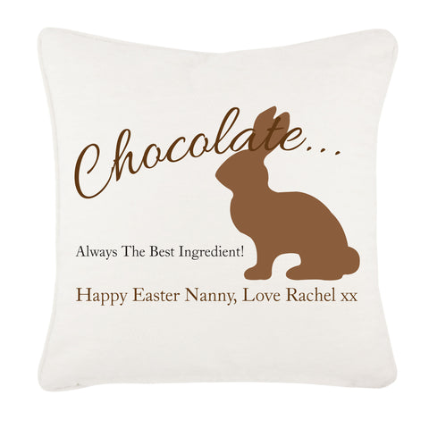 Personalised Chocolate Easter Bunny Cushion