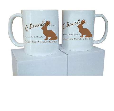 EA02 - Personalised Chocolate Easter Bunny Mug & White Box