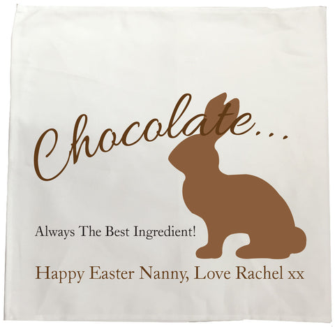 EA02 - Personalised Chocolate Easter Bunny Canvas Tea Towel