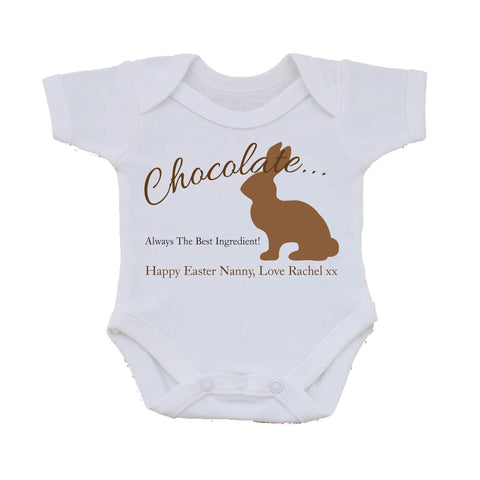 EA02 - Personalised Chocolate Easter Bunny Baby Vest