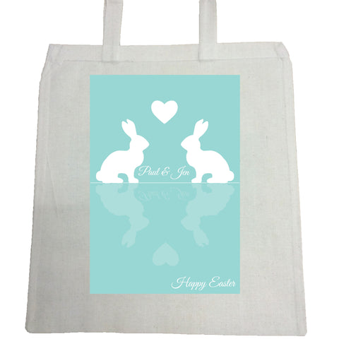EA15 -  Personalised Easter Reflecting Bunnies Canvas Bag