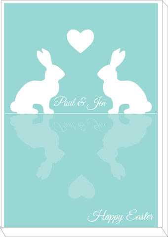 EA15 - Personalised Easter Reflecting Bunnies Canvas
