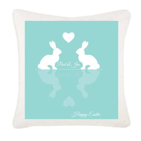 Personalised Easter Reflecting Bunnies Cushion