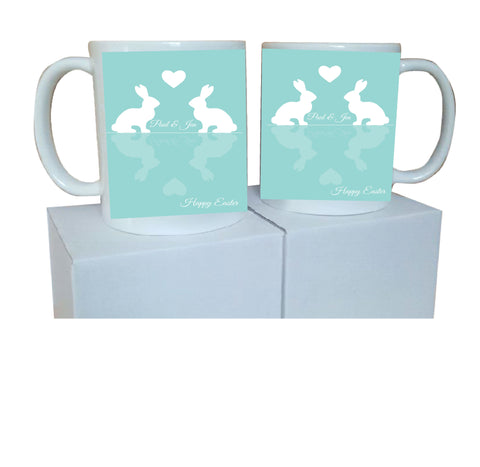 EA15 - Personalised Easter Reflecting Bunnies Mug & White Box