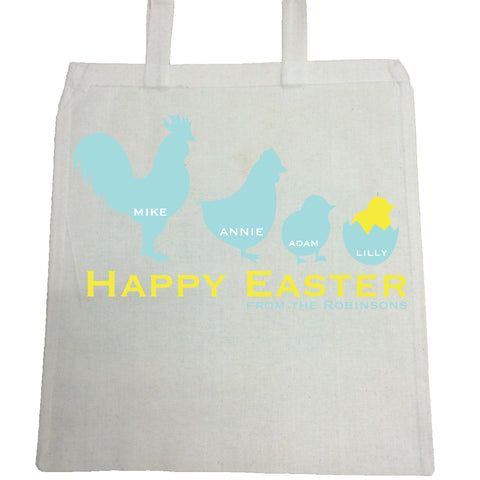EA04 -  Personalised Chicken Family Easter Canvas Bag