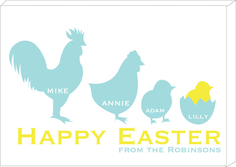 EA04 - Personalised Chicken Family Easter Canvas