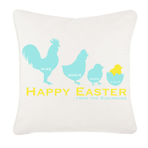 EA04 - Personalised Chicken Family Easter Cushion