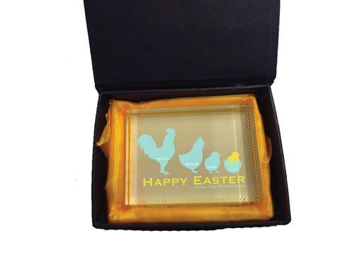 EA04 - Personalised Chicken Family Easter Crystal Block with Presentation Gift Box