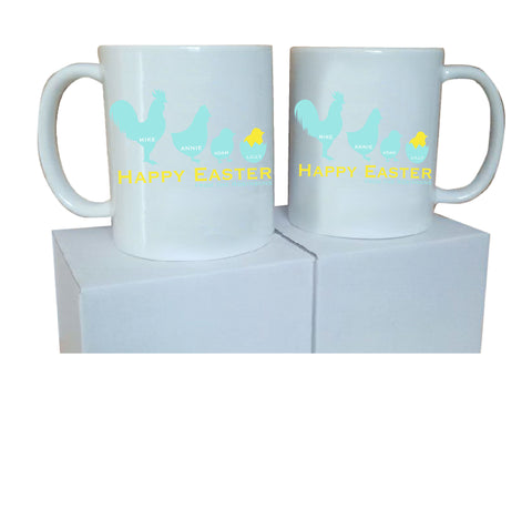 EA04 - Personalised Chicken Family Easter Mug & White Box