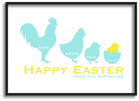 EA04 - Personalised Chicken Family Easter Print
