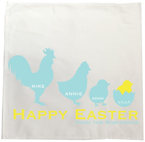 EA04 - Personalised Chicken Family Easter Canvas Tea Towel