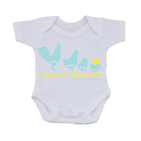 EA04 - Personalised Chicken Family Easter Baby Vest