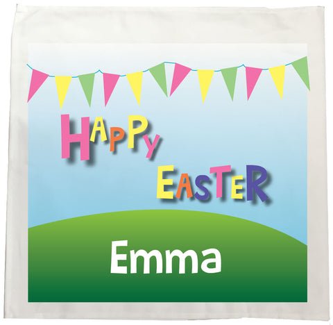 EA05 - Personalised Carnival Easter Canvas Tea Towel