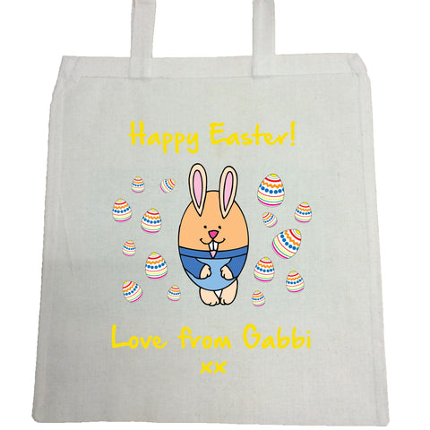 EA07 -  Personalised Easter eggs and Bunny Canvas Bag
