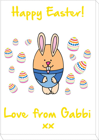 EA07 - Personalised Easter Egg Bunny Canvas