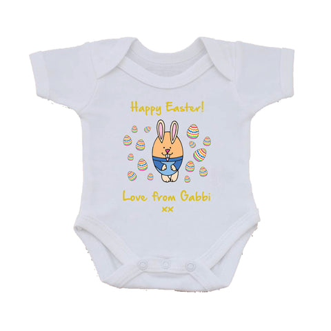 EA07 - Personalised Easter Egg Bunny Baby Vest