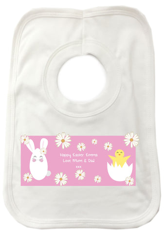 EA08 - Personalised Easter Bunny & Chick Baby Bib