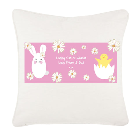 EA08 - Personalised Easter Bunny & Chick Cushion