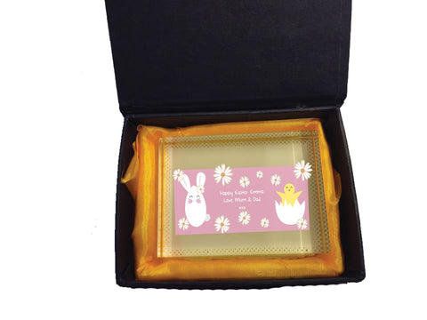 EA08 - Personalised Easter Bunny & Chick Crystal Block with Presentation Gift Box