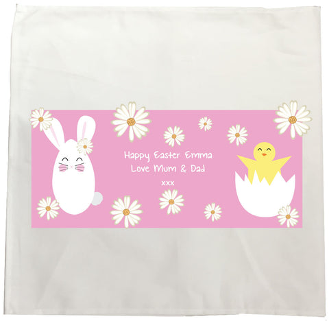 EA08 - Personalised Easter Bunny & Chick Canvas Tea Towel