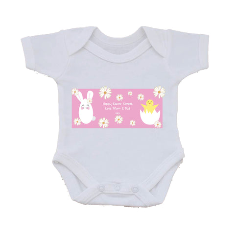 EA08 - Personalised Easter Bunny & Chick Baby Vest