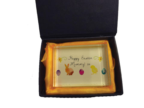 EA09 - Personalised Aztec Easter Bunny Crystal Block with Presentation Gift Box