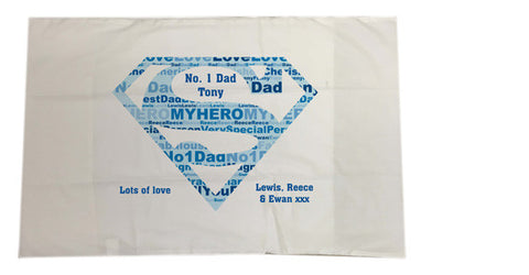 FD09 - Superman Super Dad Word Art Personalised Pillow Case