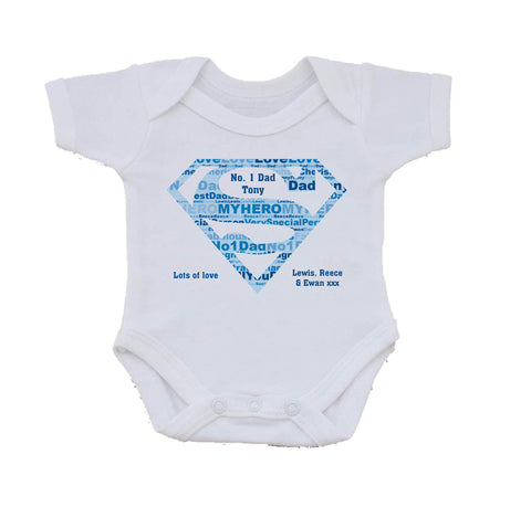 FD09 - Superman Super Dad Personalised Baby Vest
