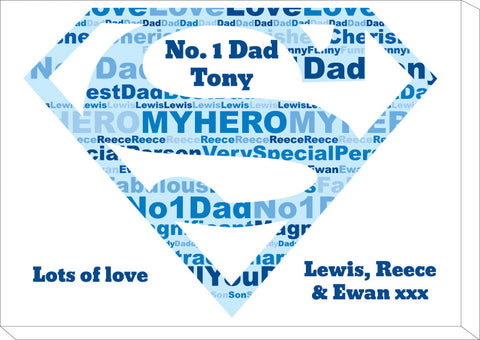FD09 - Super Dad Word Art Personalised Canvas
