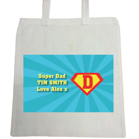FD10 - Super Dad Personalised Canvas Bag for Life