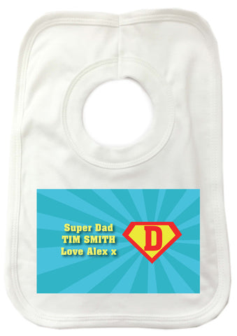 FD10 - Super Dad Personalised Baby Bib