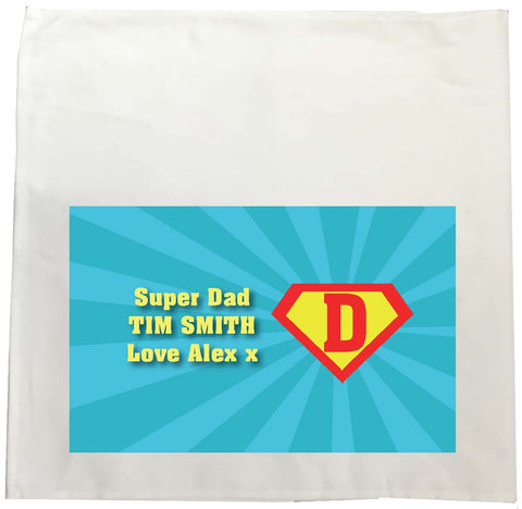 FD10 - Superman and our Dad Personalised Tea Towel